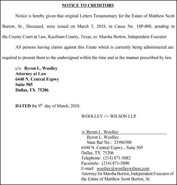 03 15 18 Notice - 18P-008-Burton_Woolley | Forney Messenger