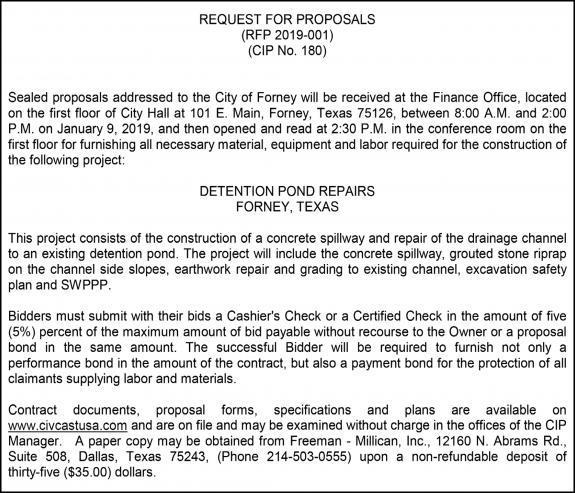 12 13 18 Notice - RFP 2019-001-CIP 180_Forney | Forney Messenger